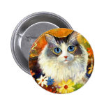 Cute Ragdoll Cat with flowers Button