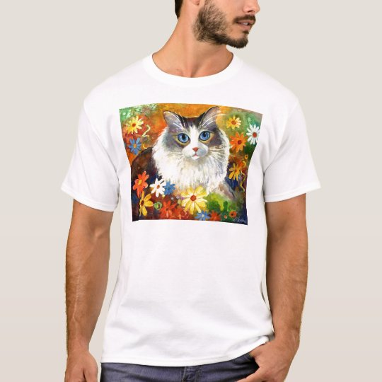 Cute Ragdoll Cat with flowers T-Shirt