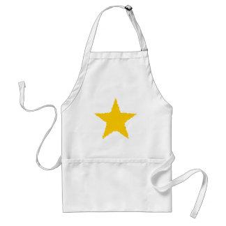 Cute raggedy edged punk yellow star adult apron