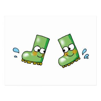 cute rain boots postcard