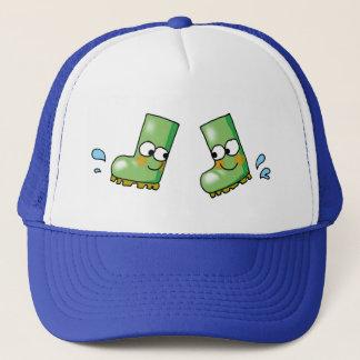cute rain boots trucker hat