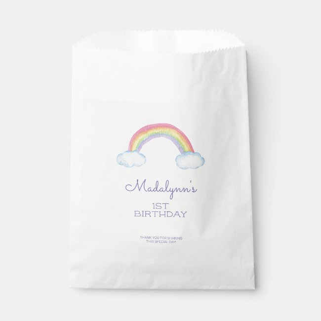 Cute Rainbow and Clouds Child Birthday Favor Bag