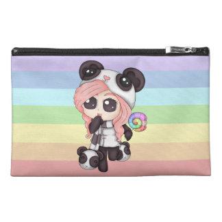 Cute Rainbow Anime Panda Girl Travel Accessory Bags