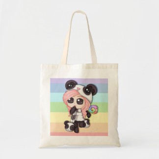 Cute Rainbow Anime Panda Girl Budget Tote Bag