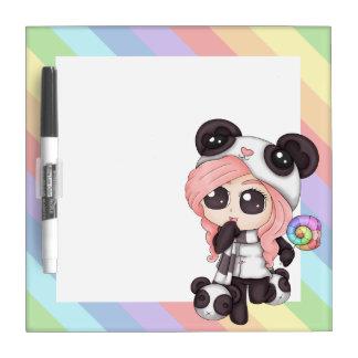Cute Rainbow Anime Panda Girl Dry Erase Whiteboards