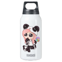 Cute Rainbow Anime Panda Girl Insulated Water Bottle