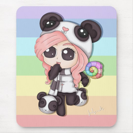 Cute Rainbow Anime Panda Girl Mouse Pad