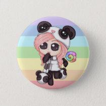 Cute Rainbow Anime Panda Girl Pinback Button