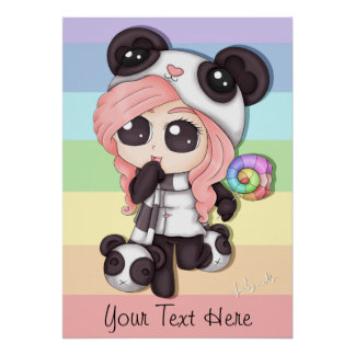 Cute Rainbow Anime Panda Girl Poster