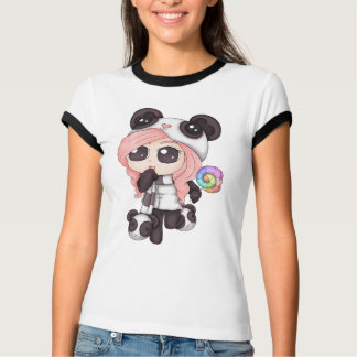 Cute Rainbow Anime Panda Girl T-Shirt