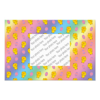 Cute rainbow baby chick easter pattern photographic print
