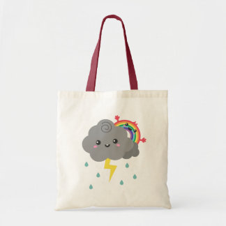 Cute Rainbow Behind Every Dark Cloud, Cheerful Tote Bag