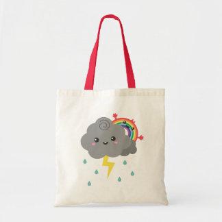 Cute Rainbow Behind Every Dark Cloud, Cheerful Tote Bag