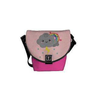 Cute Rainbow Behind Every Dark Cloud, For Her Messenger Bag