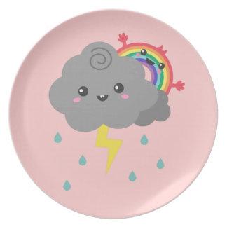 Cute Rainbow Behind Every Dark Cloud Party Plate