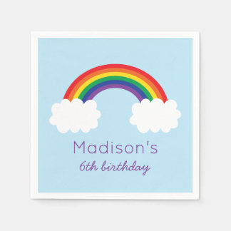 Cute Rainbow Birthday Paper Napkin