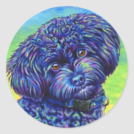 Cute Rainbow Black Toy Poodle Sticker