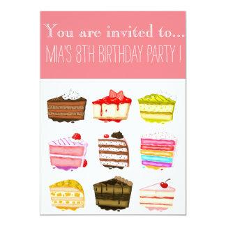 Cute rainbow cake girl or tween birthday party card