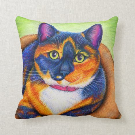 Cute Rainbow Calico Kitty Cat Throw Pillow