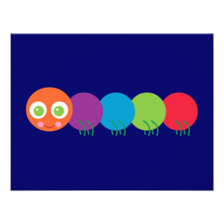 Cute Rainbow Caterpillar Custom Invitation