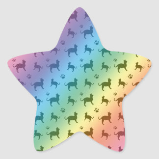 Cute rainbow cats and paws pattern star sticker