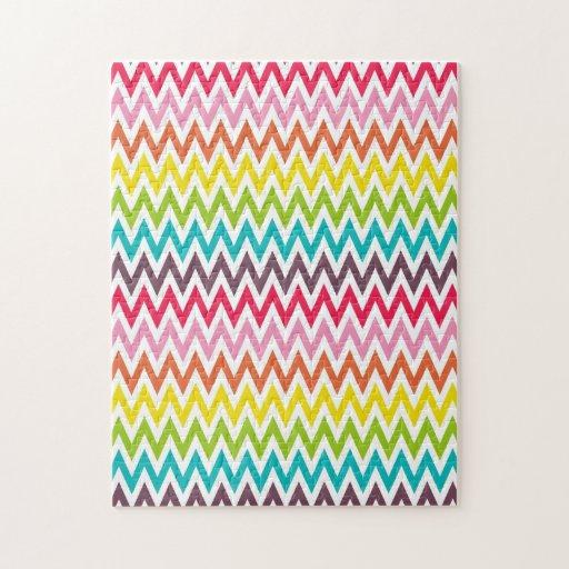 Cute Rainbow Chevron Stripes Jigsaw Puzzle
