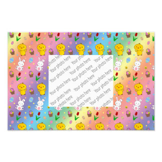 Cute rainbow chick bunny egg basket easter pattern photo