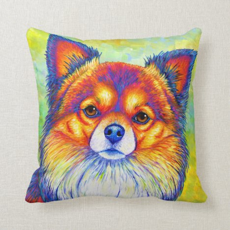 Cute Rainbow Chihuahua Dog Throw Pillow