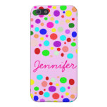 Cute Rainbow Color Polka Dots Custom Name Cases For iPhone 5
