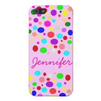 Cute Rainbow Color Polka Dots Custom Name iPhone SE/5/5s Case