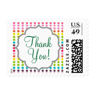 Cute Rainbow Colored Polka Dots Stamps