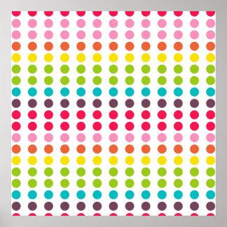 Cute Rainbow Colored Polka Dots Poster