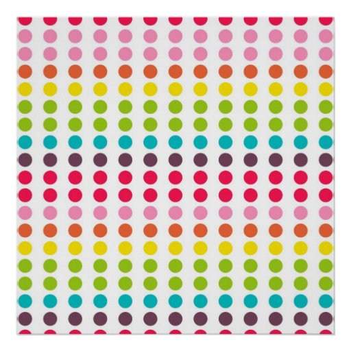 Cute Rainbow Colored Polka Dots Print
