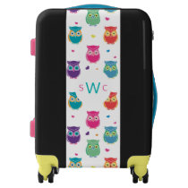 Cute Rainbow Colorful Owl Pattern Tween Teen Kids Luggage