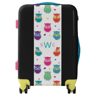 Cute Rainbow Colorful Owl Pattern Tween Teen Kids Luggage