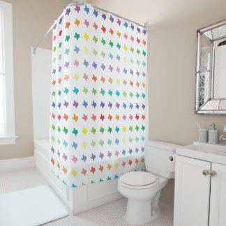 Cute Rainbow Colors Map of Texas Shower Curtain