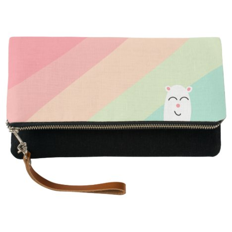 Cute Rainbow Critter in Pink,Green and Black Clutch