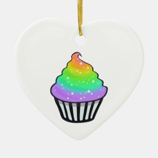 Cute Rainbow Cupcake Swirl Icing With Sprinkles Ceramic Ornament
