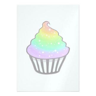 Cute Rainbow Cupcake Swirl Icing With Sprinkles Custom Invites