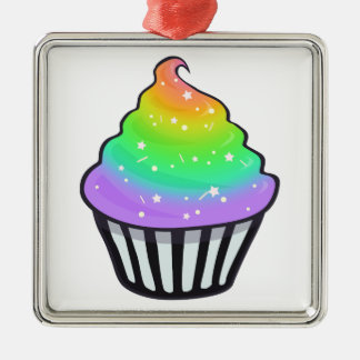 Cute Rainbow Cupcake Swirl Icing With Sprinkles Metal Ornament
