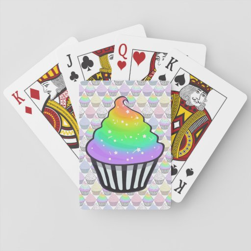 Cute Rainbow Cupcake Swirl Icing With Sprinkles Poker Deck
