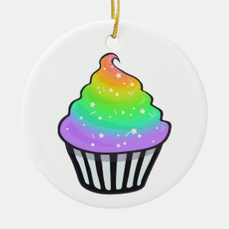 Cute Rainbow Cupcake Swirl Icing With Sprinkles Ornaments