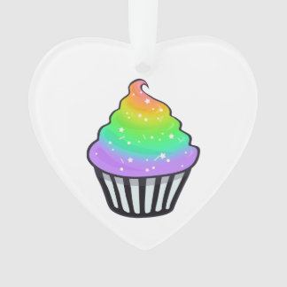 Cute Rainbow Cupcake Swirl Icing With Sprinkles Ornament