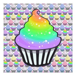 Cute Rainbow Cupcake Swirl Icing With Sprinkles Photo