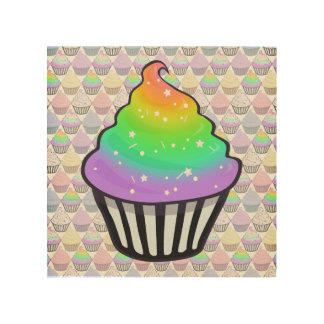 Cute Rainbow Cupcake Swirl Icing With Sprinkles Wood Wall Art