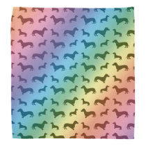 Cute rainbow dachshund pattern bandana
