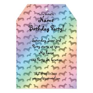 Cute rainbow dachshund pattern 5x7 paper invitation card