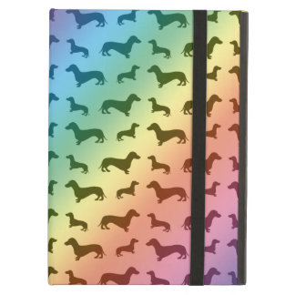 Cute rainbow dachshund pattern iPad air cover