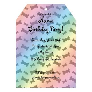 Cute rainbow dog bones pattern 5x7 paper invitation card