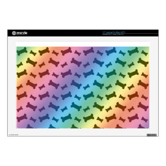 "Cute rainbow dog bones pattern decals for 17"" laptops"
